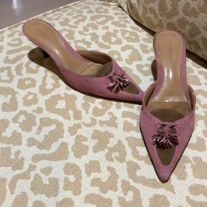 Two tone pink and brown mules with tassels